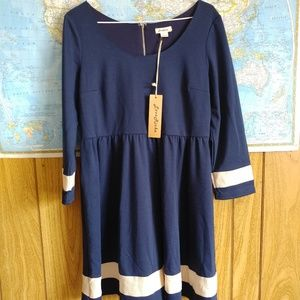 LoveRiche Midnight Blue 3/4 Sleeve Flare Dress L